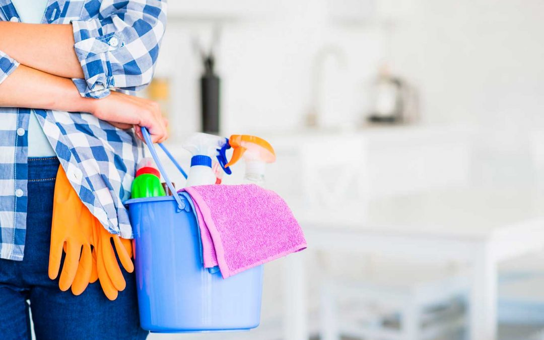 woman carrying cleaning supplies